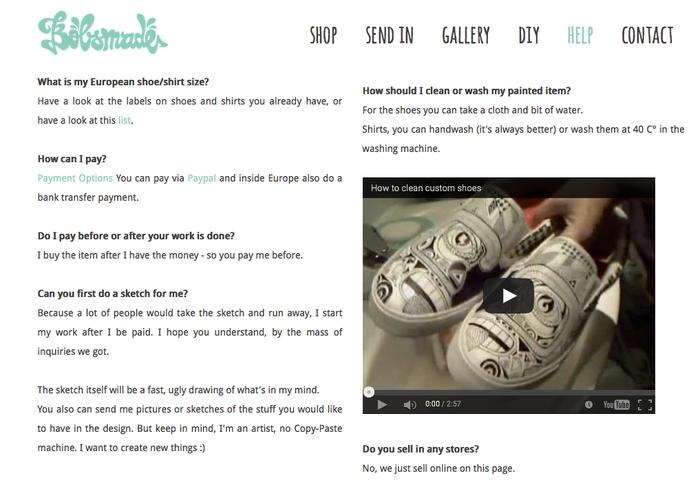 Site bobsmade.com avec le design Malaga