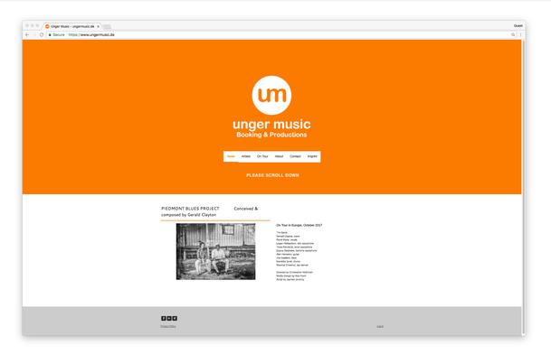 Le site unger music utilise la couleur orange pour mettre avant leur côté ludique.