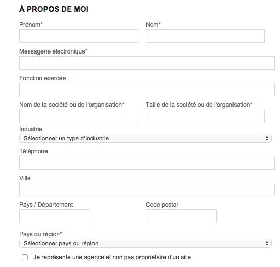 Deuxième tiers du formulaire d'inscription proposé par Bing.