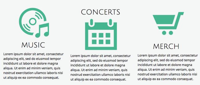 Placez toutes vos icônes dans la même position par rapport au texte - cela rendra la lecture plus agréable.