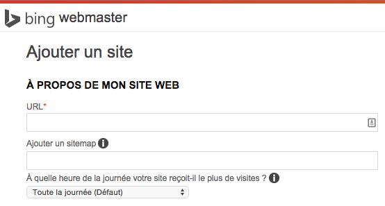 Premier tiers du formulaire d'inscription proposé par Bing.