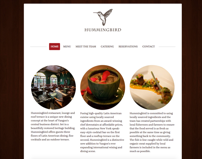 Joli site Jimdo http://www.hummingbirdyangon.com/ - Design Prague