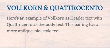 Époque : Vollkorn & Quattrocento