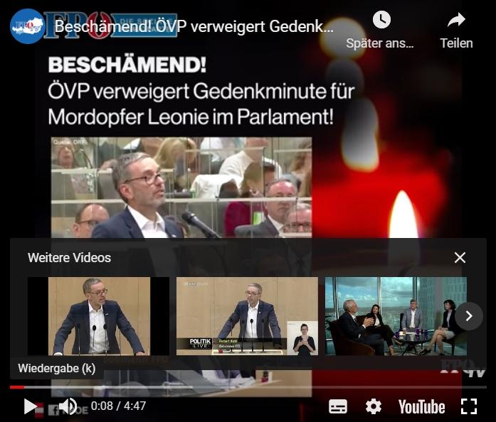 ÖVP verweigert Gedenkminute für getötete Leonie im Parlament – SPÖ, Neos und Grüne schweigen