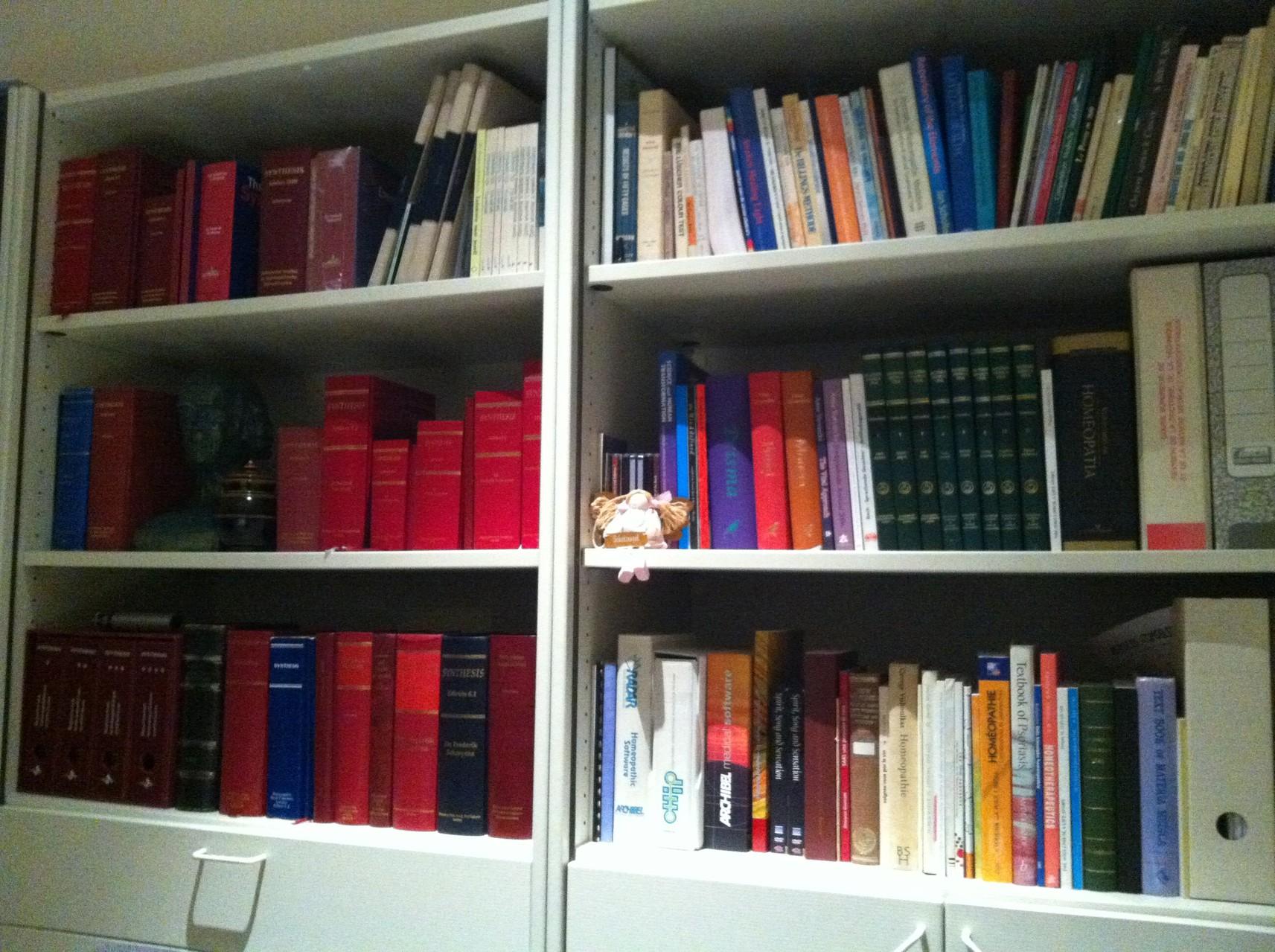 Schroyen博士の診療所の本棚。半分が自著のSynthethis