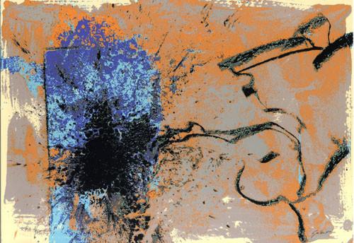 17.- Ojos azules,  Serigrafía de  43 x 31 cms.