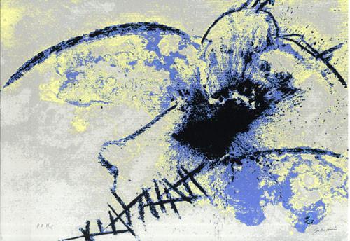 11.- Ojos azules,  Serigrafía de  43 x 31 cms.