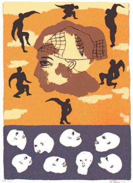 2.- Infierno,  Serigrafía de  43 x 31 cms.