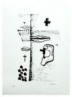7.- De flores y esmeraldas, Litografía, 49  x 35 cm., soporte 49 x 35 cm.