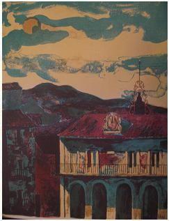 6.- Muerta ciudad de sueños, Litografía, mancha 42,5 x 32,5 cm., soporte 42,5 x 32,5 cm.