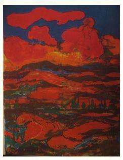 4.- Bajo una nube de carmín y llama, Litografía, mancha 42,5 x 32,5 cm., soporte 42,5 x 32,5 cm.