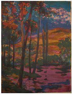 9.- Tardes tranquilas, noches de violeta, Litografía, mancha 42,5 x 32,5 cm., soporte 42,5 x 32,5 cm.