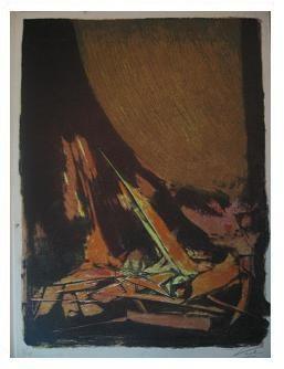 2.- Casida del llanto, Litografía, mancha 41,8 x 30,7 cm., soporte 45,3 x 33,4 cm.