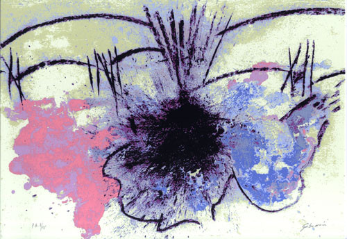 7.- Ojos azules,  Serigrafía de  43 x 31 cms.