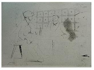 5.- Eduardo Vicente In Memoriam (V), Punta seca y Aguafuerte, mancha 12,5 x 17,5 cm., soporte 37,5 x 27 cm.