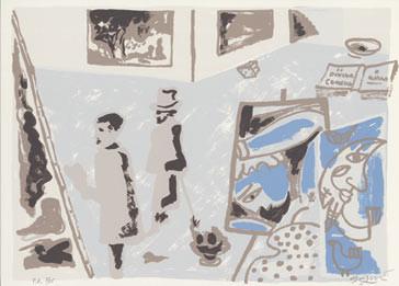 6.- La obra maestra desconocida, Serigrafía de  43 x 31 cms.
