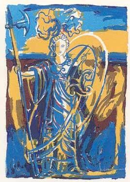 17.- Muher (Centro Brujo),  Serigrafía de  43 x 31 cms.