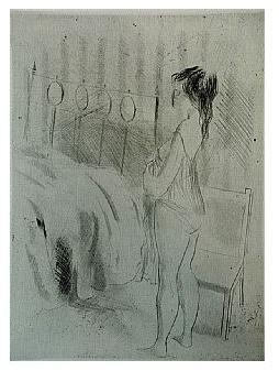 2.- Eduardo Vicente In Memoriam (II), Punta seca y Aguafuerte, mancha 19,5 x 14 cm., soporte 37,5 x 27 cm.