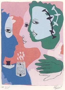 18.- Muher (Palas Atenea),  Serigrafía de  43 x 31 cms.
