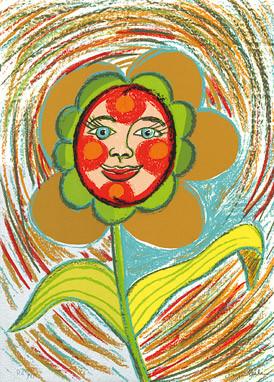 20.- Floraleza,  Serigrafía de  43 x 31 cms.