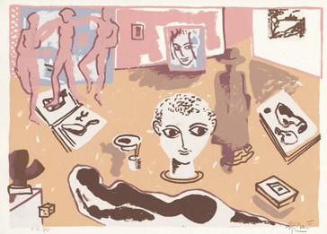 3.- La obra maestra desconocida, Serigrafía de  43 x 31 cms.
