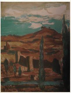 7.- Grises alcores, cárdenas roquetas, Litografía, mancha 42,5 x 32,5 cm., soporte 42,5 x 32,5 cm.