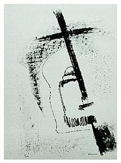 2.- A Donde te escondiste, Litografía, 49  x 35 cm., soporte 49 x 35 cm.