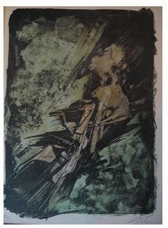 6.- Casida de la mano imposible, Litografía, mancha 41,8 x 30,7 cm., soporte 45,3 x 33,4 cm.