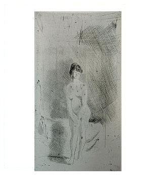 6.- Eduardo Vicente In Memoriam (VI), Punta seca y Aguafuerte, mancha 24,5 x 13,5 cm., soporte 37,5 x 27 cm.