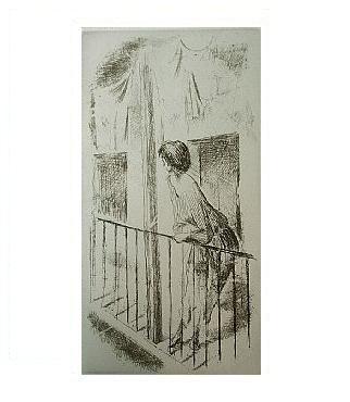 8.- Eduardo Vicente In Memoriam (VIII), Punta seca y Aguafuerte, mancha 27 x 14 cm., soporte 37,5 x 27 cm.