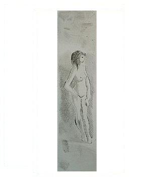 4.- Eduardo Vicente In Memoriam (IV), Punta seca y Aguafuerte, mancha 17 x 4 cm., soporte 37,5 x 27 cm.