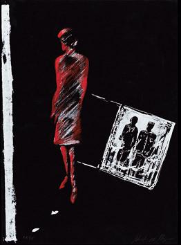 20.- Historia de detectives,  Serigrafía de  43 x 31 cms.
