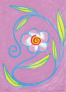 9.- Floraleza,  Serigrafía de  43 x 31 cms.