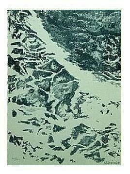 1.- Vengo a Mirarte mar, loco, perpetuo,  Litografía, mancha 45,5 x 33 cm., soporte 45,5 x 33 cm.
