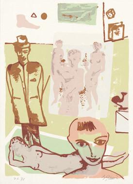 9.- La obra maestra desconocida, Serigrafía de  43 x 31 cms.