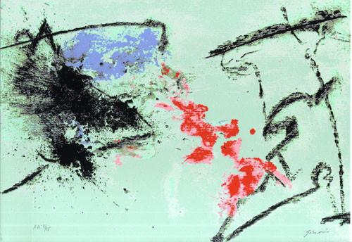 13.- Ojos azules,  Serigrafía de  43 x 31 cms.