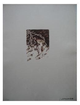 12.- Epílogo, Litografía, mancha 14,2 x 10,2 cm., soporte 45,5 x 33 cm.