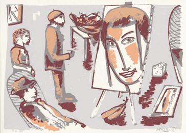 7.- La obra maestra desconocida, Serigrafía de  43 x 31 cms.