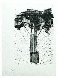 6.- Debajo del Manzano, Litografía, 49  x 35 cm., soporte 49 x 35 cm.