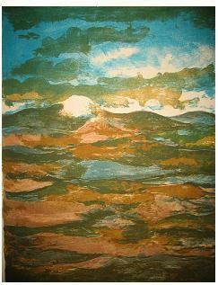 1.- La tierra no revive, el campo sueña, Litografía, mancha 42,5 x 32,5 cm., soporte 42,5 x 32,5 cm.