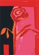 10.- La iluminada rosa negra,  Serigrafía de  43 x 31 cms.