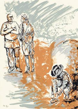 6.- Historia de detectives,  Serigrafía de  43 x 31 cms.