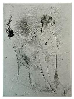 1.- Eduardo Vicente In Memoriam (I), Punta seca y Aguafuerte, mancha 19,5 x 14 cm., soporte 37,5 x 27 cm.