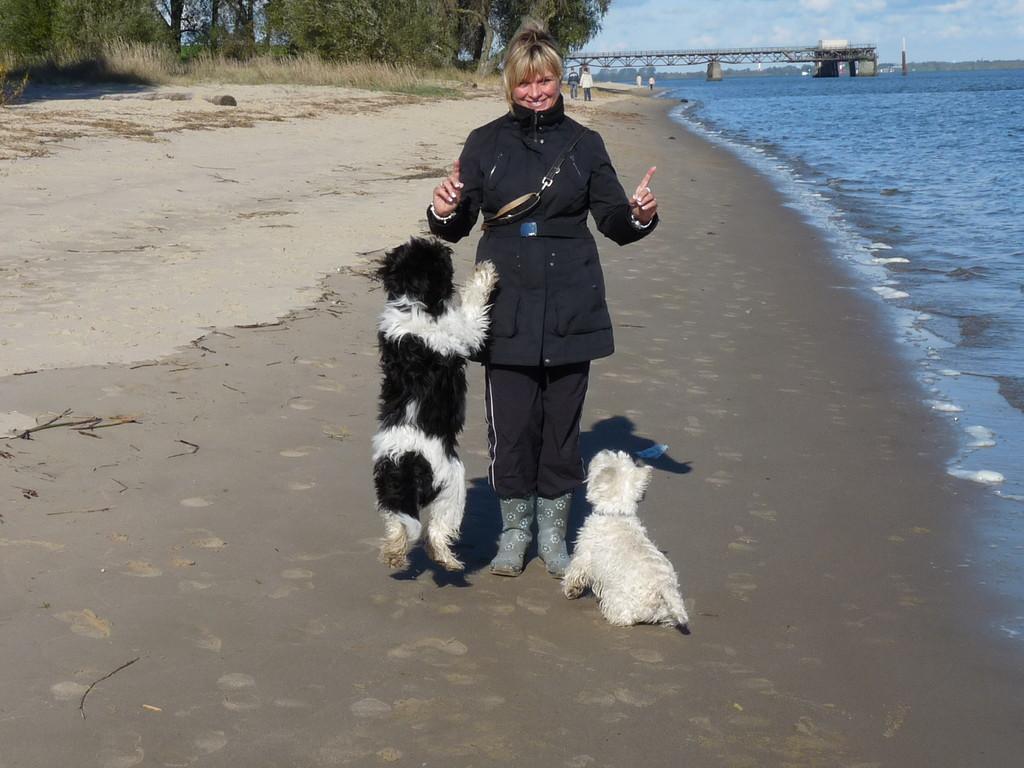 Meine Mama, Robin und ich beim Toben an der Elbe