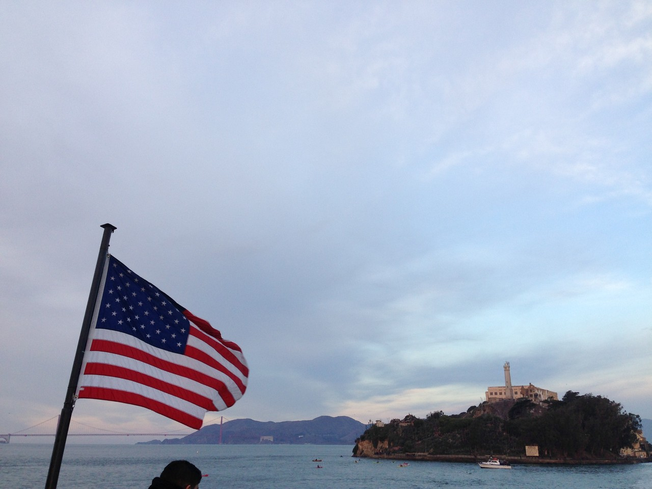 Leaving Alcatraz. Bay Bridge is in the background.