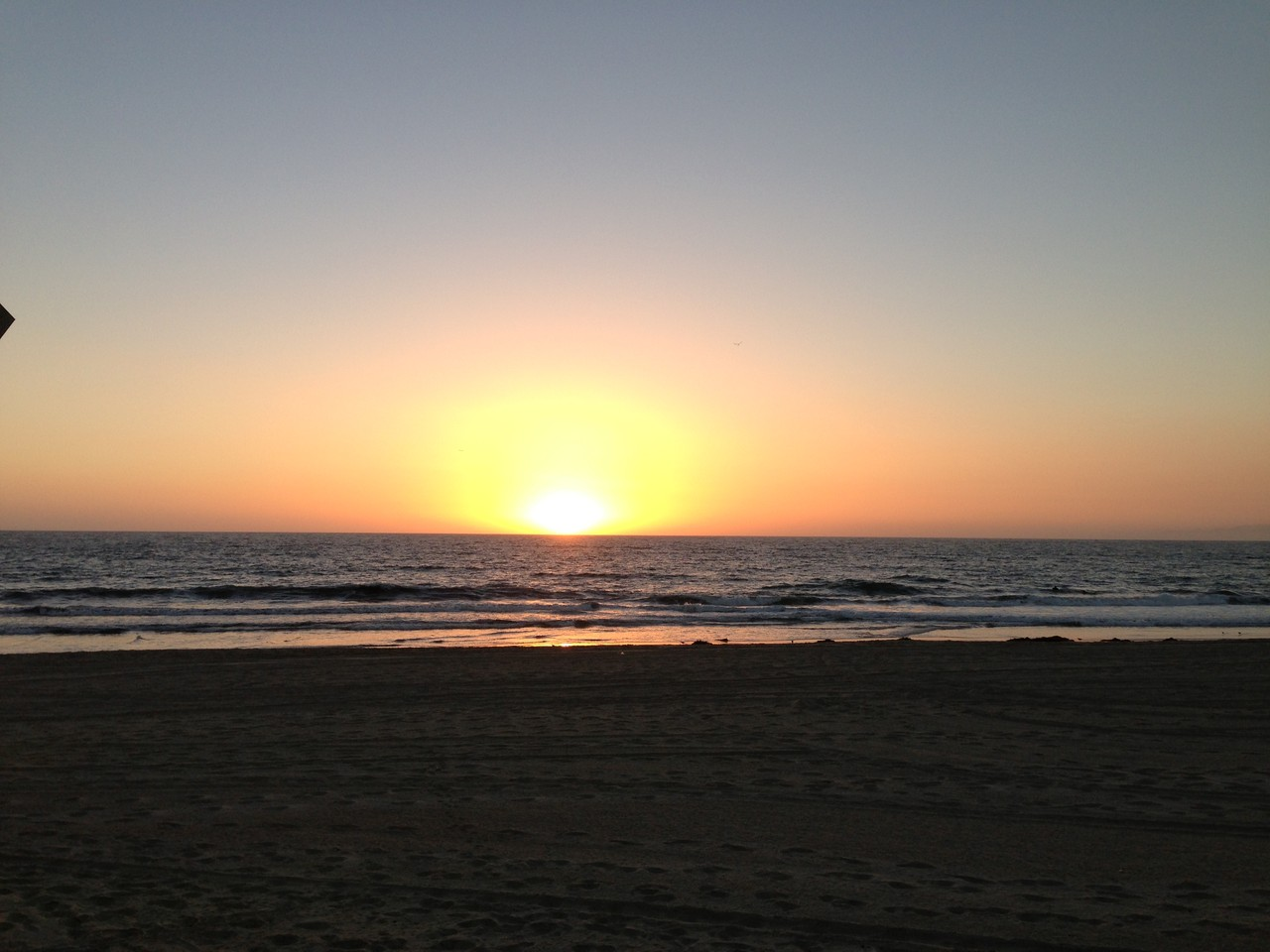 Sunset at beachside restaurant on Hermosa Beach. Perfect location for our team dinner!