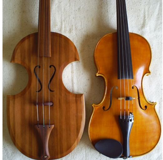 Rabel comparado con violín moderno.