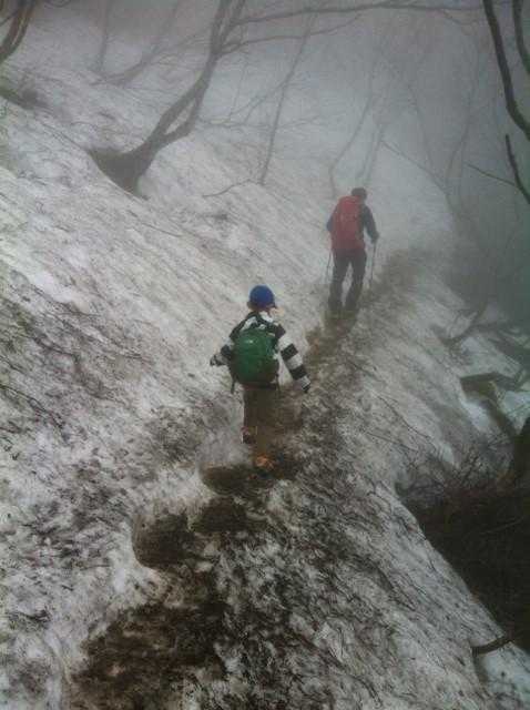 高度を上げるにつれ残雪が、。 友達に先行してもらい哲平を真中に。。 この時点で哲平は少し緊張!て言うのも一昨日中学生の滑落事故があり頭部&膝の骨折でヘリ救助されたって事を教えてたんで、。 *ここの残雪はまだまだ安全。滑落しても木がたくさん生えてるので引っ掛かりやすいし下まで滑っても10mくらいかな?岩も無いし。