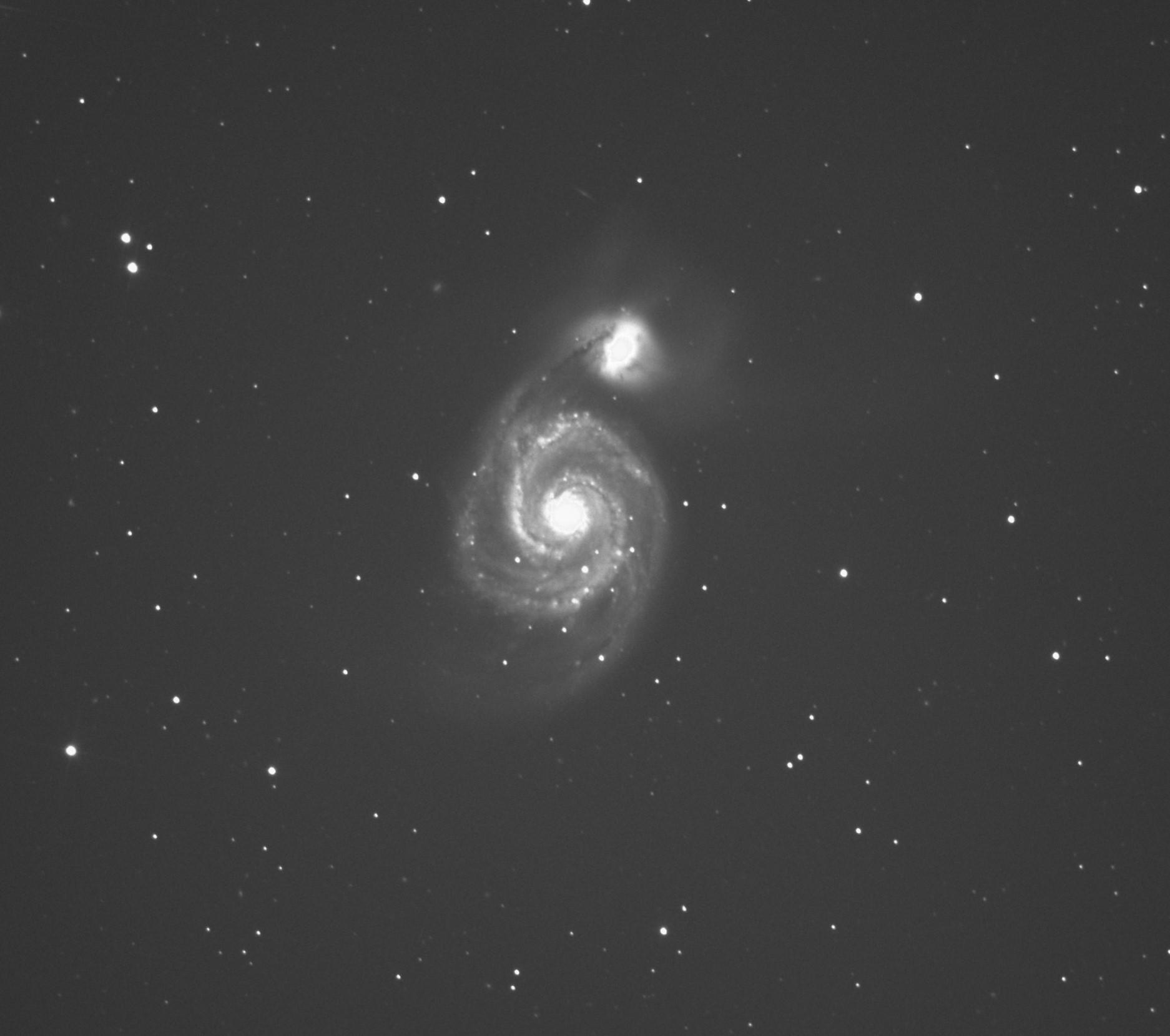 """Galaxie M51 dite """"du tourbillon"""" (Grande Ourse)- Stéphane PICQUETTE -Newton 200/1000 - monture EQ6R-PRO, caméra ZWO 294MC refroidie, 50 poses de 120s, gain 460, 15 dark, traitement avec logiciel SIRIL et photoshop"""
