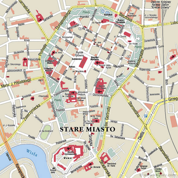 Plattegrond Krakau-Oude Stad